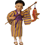 "SALE 9"" R. John Wright Boy Doll w/ Fish Japanese Doll ""Akira"" Limited to 100 pi"