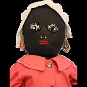"SALE 16"" Antique Cloth Americana Folk Art Black Mammy doll Door Stop Charming !!!"