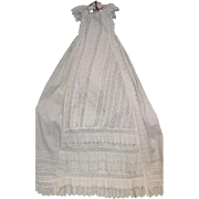 "SALE 43"" English Antique Christening Gown circa 1875 Clean Broderie Anglaise Lace"