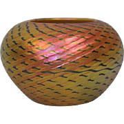 "5-1/2"" Signed Lundberg Studios art glass ""Red Indian Basket"" 24"" circumference"