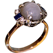 """SALE Lady's 14 Karat Rose Gold """"Star Sapphire"""" and Diamond and Sapphire Ring"""