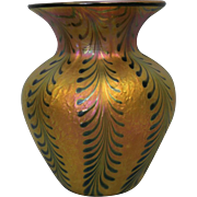 "7.5"" Signed Lundberg Studios Art Glass Iridescent Vase SIGNED Contemporary"