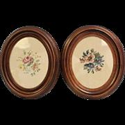 "SALE Oval Victorian Walnut Matching Frames orig. glass Wood 11"" X 13"" glass 7"""