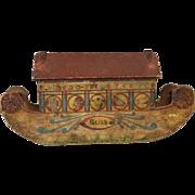 Antique R. Bliss Lithograph Paper Over Wood Noah's Ark Wonderful Primitive Boat