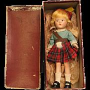 "9"" Madame Alexander Little Betty Scottish Doll All orig. Orig RED Box 1937-41"