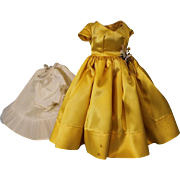 Cissy Doll 1950's Madame Alexander Yellow Satin Dress & Flowers + Slip Tagged!