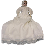 "Antique 20.5"" English Montanari Poured Wax Doll Turned Head in Christening Gown"