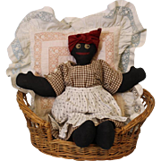 "14"" Darling Old Black Cloth Mammy Doll Whimsical Embroidered Face c.1930s Clean"