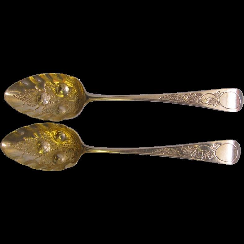 2 George III 1786-1821 Large Sterling Fancy Serv.Spoons