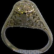 SALE 14 K White gold Fillagree Lady's Diamond ring with 7 diamonds size 7