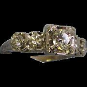 SALE 14k White Gold 5 Stone Diamond Engagement Ring .87tcw size 7 .40 Carat Center