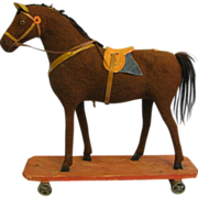 SALE Early English Horse on Platform Pull Toy In Amazing Condition with saddle etc.