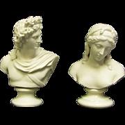 "SALE Two Busts, 1 Belleek 10.5"" Sorrow Bust Green Stamp Glazed Pedestal  Bust"