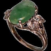 SALE Beautiful Lady's Fashion Ring with Jade and Diamonds circa 1960-70's.