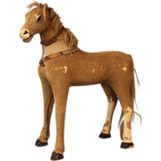 "18"" Tall early horse hide horse"