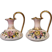 "Pair of Ewers 6"" English Crown Derby with applied flowers Circa 1830"