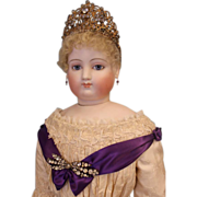 """SALE 34"""" Antique French Fashion Jumeau Countess Doll w.Crown on Stamped Jumeau body"""