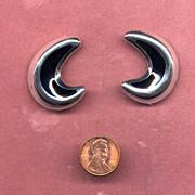 SALE Mexican Sterling and Black Enamel Clip Earrings