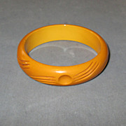 Carved Caramel Bakelite Bangle Bracelet
