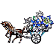 Sterling, Marcasite, and Enamel Flower Cart Pin