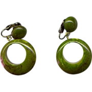 Dark Green Catalin Bakelite Drop Earrings