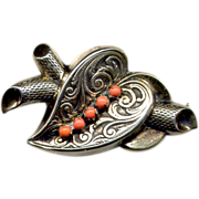 SALE Sterling Silver Heart Pin with Coral Stones