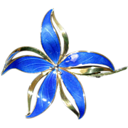 SALE Norway Sterling & Blue Enamel Flower Pin