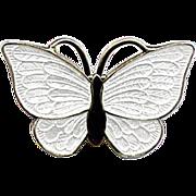 Denmark Sterling and White Enamel Butterfly Pin