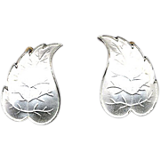 SALE Norway Sterling & White Enamel Leaf Earrings
