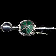 Vintage Scottish Sterling Dagger Pin with Malachite
