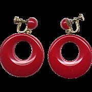 Chunky Red Vintage Bakelite Hoop Earrings
