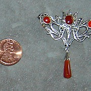 SALE Sterling Silver and Marcasite Pin with Carnelian Stones