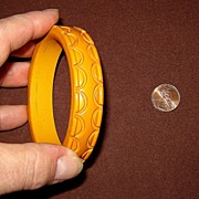 Carved Dark Caramel Bakelite Bangle