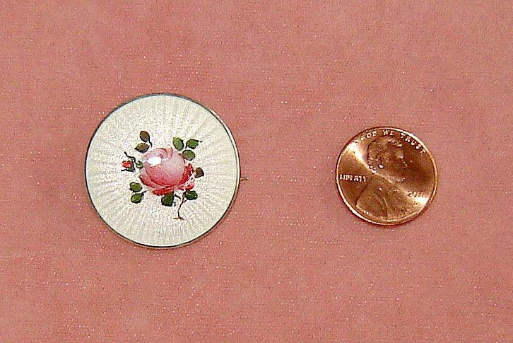 Norway Sterling and White Enamel Pin with Rose
