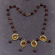 Costume Bead Necklace with Foil-Back Stones