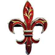 Sterling Red Enamel Fleur-de-Lis Watch Pin