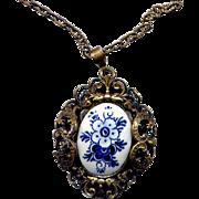 SALE Costume Fancy Brass Delft Pendant Necklace