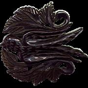 Vintage Carved and Pierced Black Bakelite Bird Pin