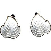 Norway Sterling & White Enamel Leaf Clip Earrings