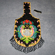SALE PENDING Large Fringed Vintage Beaded Bag with Roses