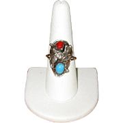 Signed Navaho Sterling, Turquoise, and Coral Ring