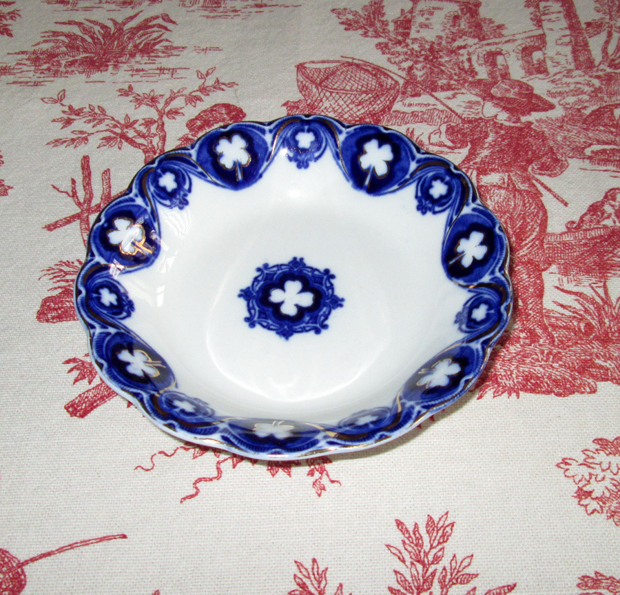 """Flow Blue Semi-Porcelain """"Savoy"""" Fruit Bowl"""