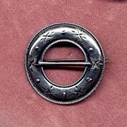 SALE David Andersen of Norway 830 Silver Engraved Pin