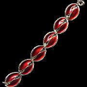 Denmark Sterling and Red Enamel Leaf Bracelet