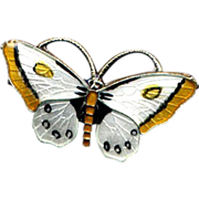 SALE Norway Sterling Black, White, and Yellow Butterfly Pin