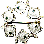 Denmark Sterling and White Enamel Fish Pin
