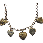 Gold-Filled Curb-Chain Bracelet with Heart Lockets