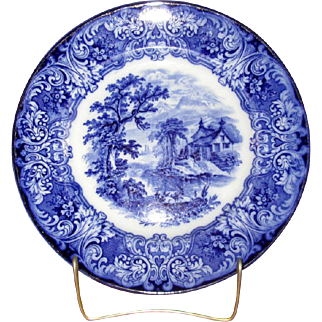 "English Flow Blue 10 1/4"" Pottery ""Geneva"" Plate"