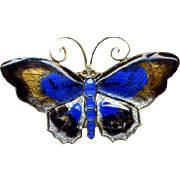 D-A Sterling Norway Multi-Colored Enamel Butterfly Pin