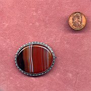 SALE Sterling Silver Brooch with Banded Agate